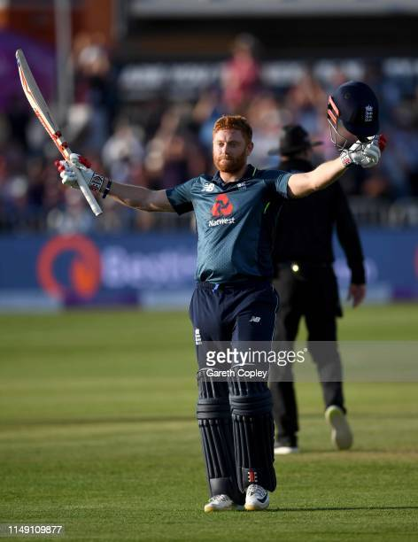 Jonathan Bairstow of England celebrates reaching his century during the 3rd Royal London One Day International between England and Pakistan at The...