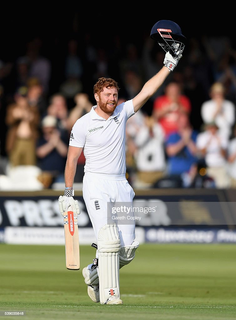 Jonathan Bairstow of England celebrates reaching his century during day one of the 3rd Investec Test match between England and Sri Lanka at Lord's Cricket Ground on June 9, 2016 in London, United Kingdom.