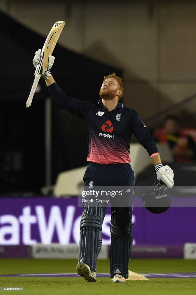 Jonathan Bairstow of England celebrates reaching his century during the 1st Royal London One Day International match between England and the West Indies at Old Trafford on September 19, 2017 in Manchester, England.