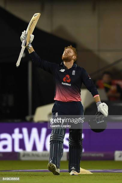 Jonathan Bairstow of England celebrates reaching his century during the 1st Royal London One Day International match between England and the West...