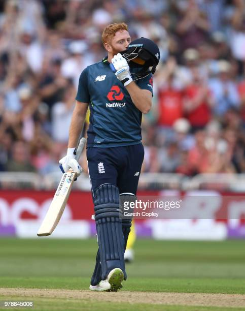 Jonathan Bairstow of England celebrates reaching his century during the 3rd Royal London ODI match between England and Australia at Trent Bridge on...