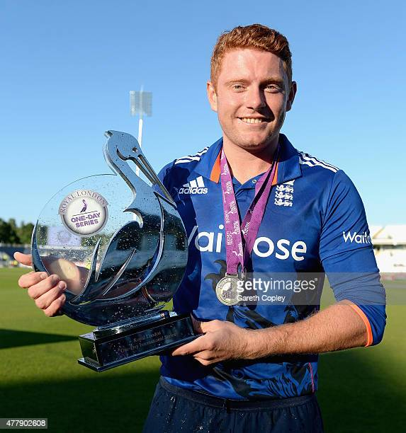 Jonathan Bairstow of England celebrates with the series trophy after winning the 5th ODI Royal London OneDay match between England and New Zealand at...