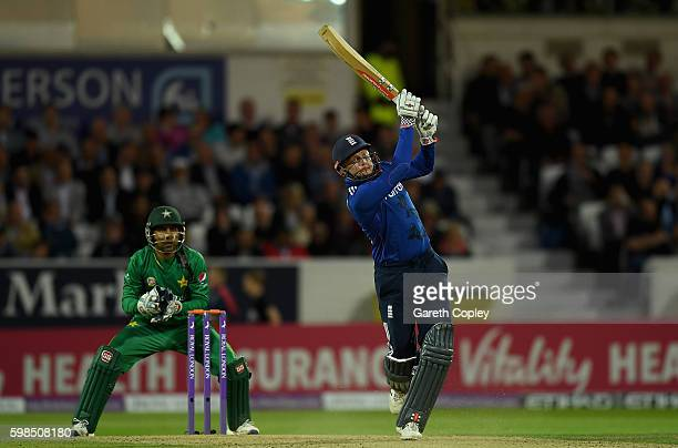 Jonathan Bairstow of England hits out for six runs during the 4th One Day International match between England and Pakistan at Headingley on September...