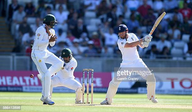 Jonathan Bairstow of England hits past Azhar Ali of Pakistan during day four of the 3rd Investec Test between England and Pakistan at Edgbaston on...