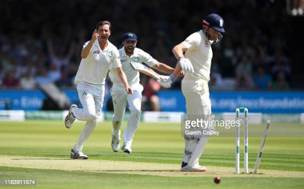Jonathan Bairstow of England isbowled by Tim Murtagh of Ireland during day one of the Specsavers Test Match between England and Ireland at Lord's...