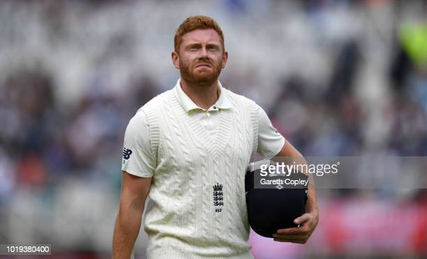 Jonathan Bairstow of England leaves the field after being dismissed by Hardik Pandya of India during day two of the Specsavers 3rd Test match between...