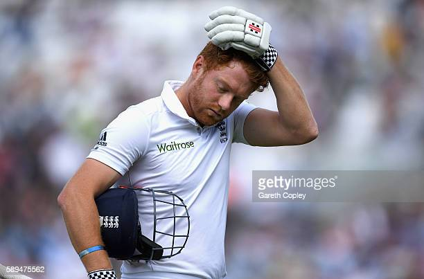 Jonathan Bairstow of England leaves the field after being dismissed by Wahab Riaz of Pakistan during day four of the 4th Investec Test between...