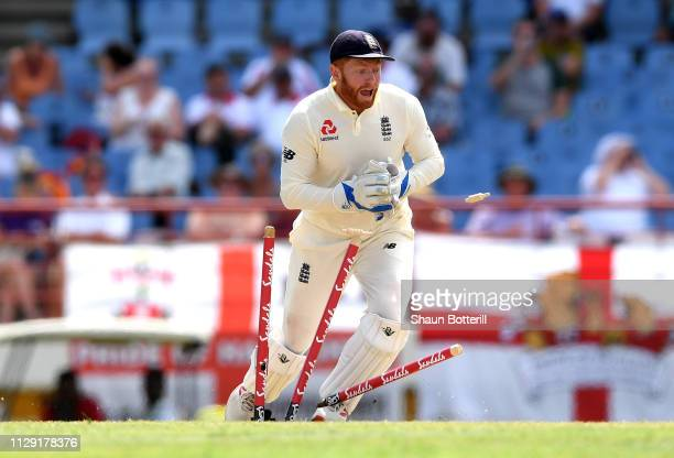 Jonathan Bairstow of England runs out Shimron Hetmyer of the West Indies during Day Four of the Third Test match between the West Indies and England...