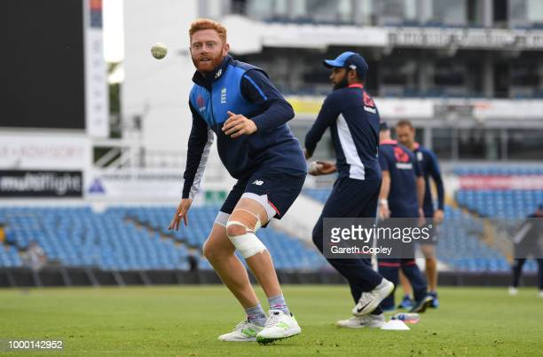 Jonathan Bairstow of England takes part in a fielding drill during a net session at Headingley on July 16 2018 in Leeds England