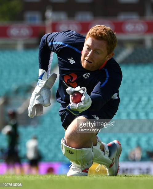 Jonathan Bairstow of England takes part in a wicketkeeping drill during a nets session at The Kia Oval on September 6 2018 in London England