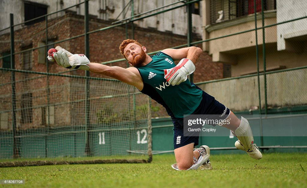 Jonathan Bairstow of England takes part in a wicketkeeping drill during a nets session at Sher-e-Bangla National Cricket Stadium on October 26, 2016 in Dhaka, Bangladesh.