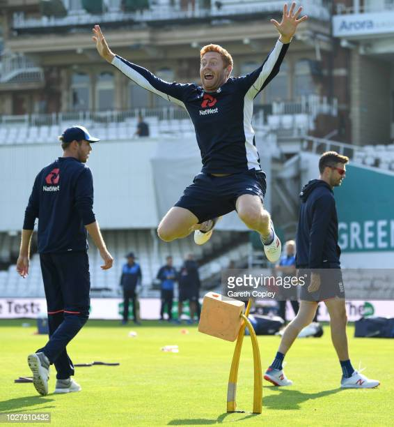 Jonathan Bairstow of England warms up ahead of a nets session at The Kia Oval on September 6 2018 in London England
