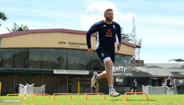 Jonathan Bairstow of England warms up during a nets session at P Sara Oval on October 4 2018 in Colombo