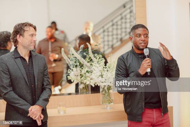 Jonathan Baker and Andre Gains attend The One And Only, Dick Gregory, Album Release Event on September 16, 2021 in Burbank, California.