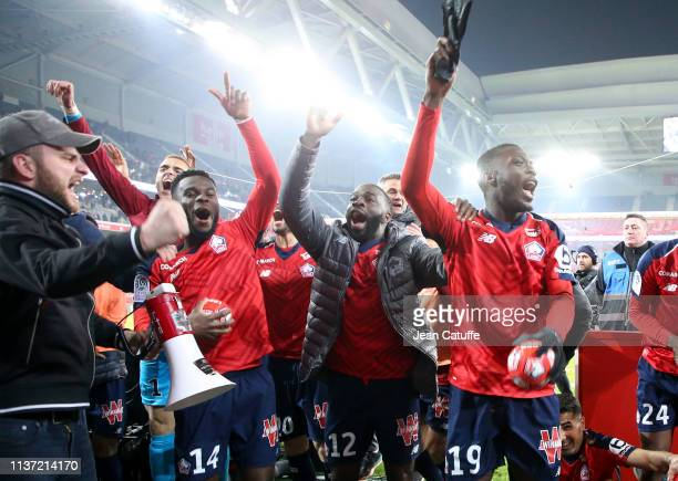 Jonathan Bamba Jonathan Ikone Nicolas Pepe of Lille celebrate the victory following the French Ligue 1 match between Lille OSC and Paris SaintGermain...