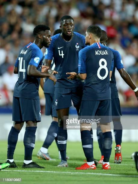 Jonathan Bamba of France U21 Ibrahima Konate of France U21 Houssem Aouar of France U21 during the EURO U21 match between England v France at the...