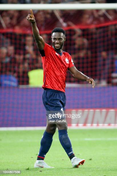 Jonathan Bamba of Lille celebrates his second goal during the french Ligue 1 match between Lille OSC and Olympique de Marseille at Stade Pierre...