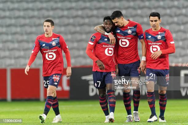 Jonathan Bamba of Lille OSC celebrates after scoring his teams first goal during the Ligue 1 match between Lille OSC and Stade Reims at Stade Pierre...