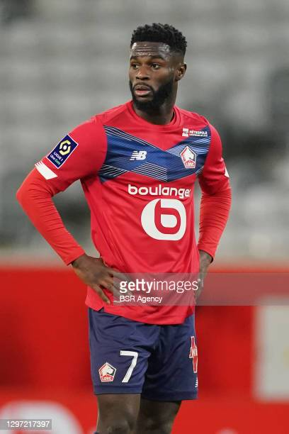 Jonathan Bamba of Lille OSC during the Ligue 1 match between Lille OSC and Stade Reims at Stade Pierre Mauroy on January 17, 2021 in Lille, France