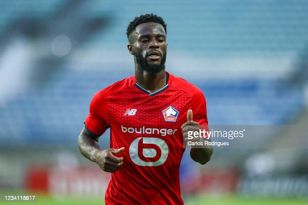 Jonathan Bamba of LOSC Lille during the Pre-Season Friendly match between SL Benfica and Lille at Estadio Algarve on July 22, 2021 in Faro, Portugal.