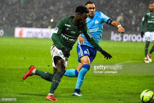 Jonathan Bamba of Saint Etienne and Dimitri Payet of Marseille during the Ligue 1 match between AS SaintEtienne and Olympique Marseille at Stade...