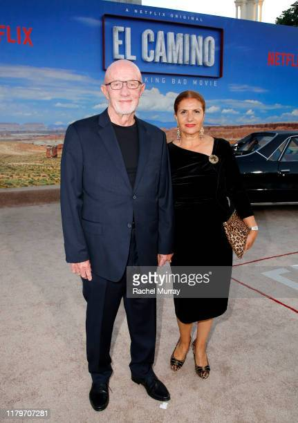 """Jonathan Banks and Gennera Banks attend the World Premiere of """"El Camino: A Breaking Bad Movie"""" at the Regency Village on October 07, 2019 in Los..."""