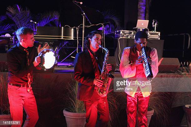 Jonathan Batiste and musicians perform at the grand opening celebration to debut The St Regis Bal Harbour Resort on March 17 2012 in Miami Beach...