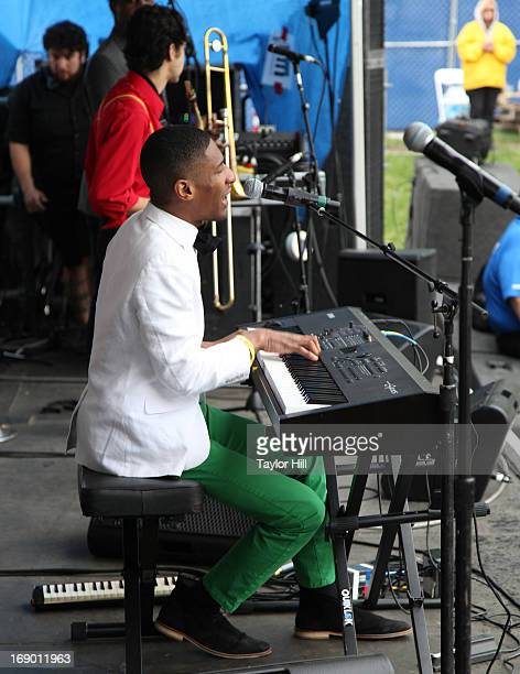 Jonathan Batiste bassist Phil Kuehn drummer Joe Saylor saxophone player Eddie Barbash and tuba player Ibanda Ruhumbika of Jonathan Batiste and the...