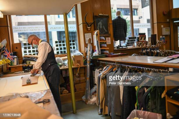 Jonathan Becker owner of Couch and Hoskin Bespoke Tailors works at his shop in the City of London on August 26 2020 in London England Mr Becker...
