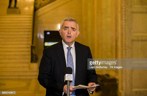 Jonathan Bell addresses the media at Parliament Buildings in Stormont Belfast as First Minister Arlene Foster faced a vote of no confidence in her...