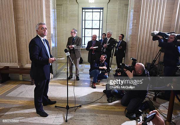 Jonathan Bell gives a statement to the media at Stormont on December 19 2016 in Belfast Northern Ireland Mr Bell is at the heart of a political...