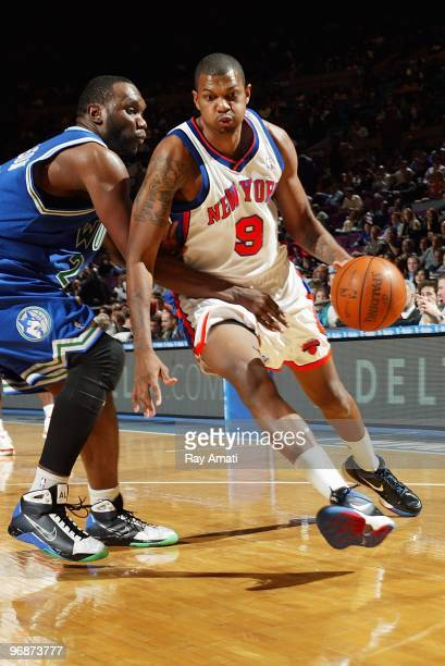 Jonathan Bender of the New York Knicks drives against Al Jefferson of the Minnesota Timberwolves during the game on January 26 2010 at Madison Square...