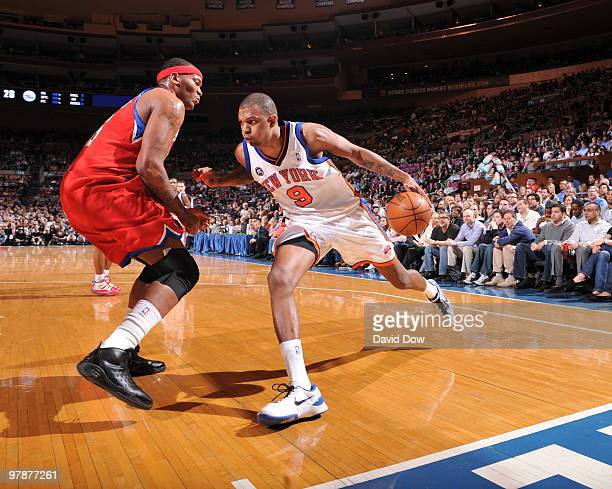 Jonathan Bender of the New York Knicks drives the ball against Marreese Speights of the Philadelphia 76ers on March 19 2010 at Madison Square Garden...
