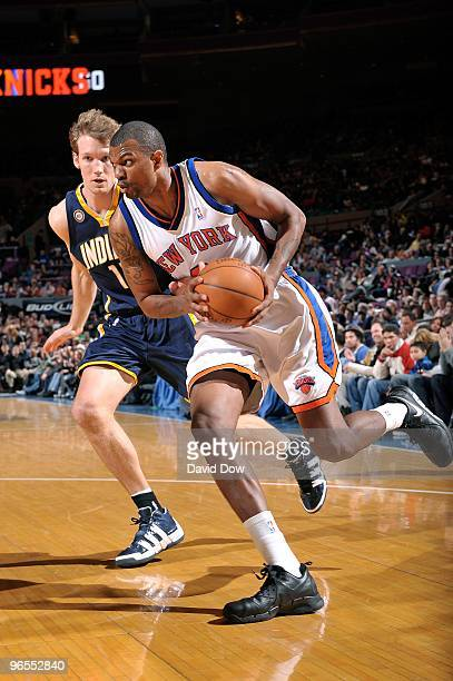 Jonathan Bender of the New York Knicks moves the ball against Mike Dunleavy of the Indiana Pacers during the game on January 3 2010 at Madison Square...