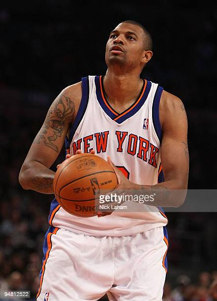 Jonathan Bender of the New York Knicks shoots a free throw against the Los Angeles Clippers at Madison Square Garden on December 18 2009 in New York...