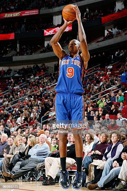 Jonathan Bender of the New York Knicks shoots a jumper during the game against the Houston Rockets on January 9 2010 at the Toyota Center in Houston...