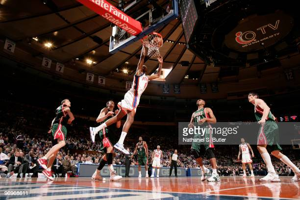 Jonathan Bender of the New York Knicks shoots against Jerry Stackhouse of the Milwaukee Bucks on February 22 2010 at Madison Square Garden in New...