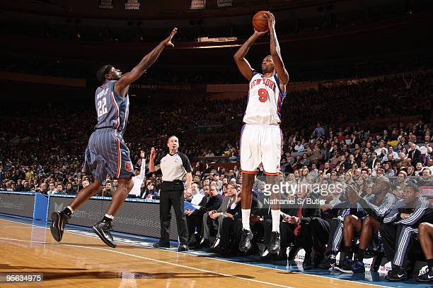 Jonathan Bender of the New York Knicks shoots against Ronald Murray of the Charlotte Bobcats on January 7 2010 at Madison Square Garden in New York...