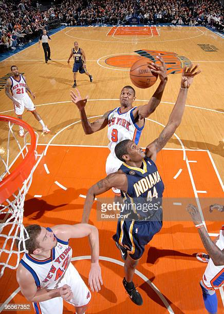 Jonathan Bender of the New York Knicks shoots against Solomon Jones of the Indiana Pacers during the game on January 3 2010 at Madison Square Garden...