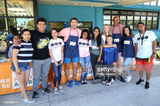 Jonathan Bennet Ali Larter Boris Kodjoe and Emily Tosta and guests attend Celebrity Friends Of Feeding America volunteer at The Santa Monica Boys and...