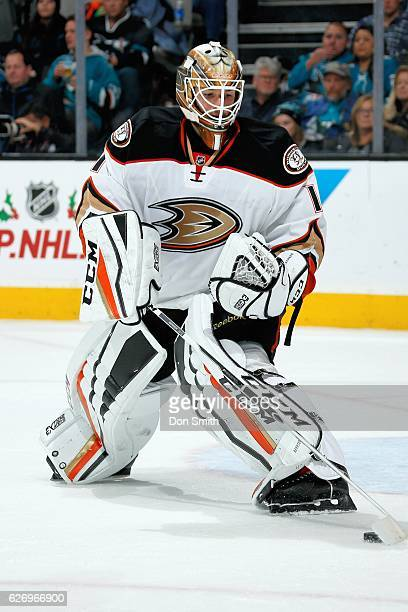 Jonathan Bernier of the Anaheim Ducks looks on during a NHL game against the San Jose Sharks at SAP Center at San Jose on November 26, 2016 in San...