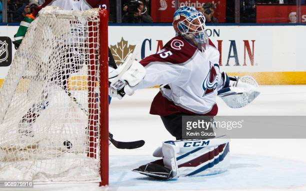 Jonathan Bernier of the Colorado Avalanche lets in a goal by Auston Matthews of the Toronto Maple Leafs during the second period at the Air Canada...