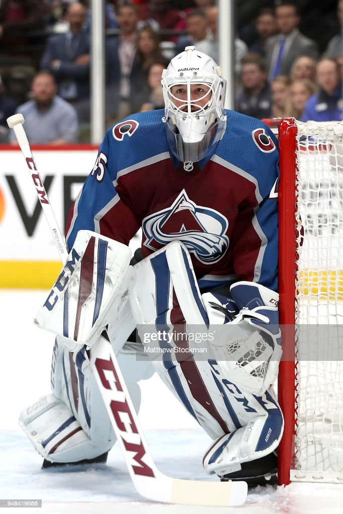 Jonathan Bernier #45 of the Colorado Avalanche tends goal against the Nashville Predators in Game Four of the Western Conference First Round during the 2018 NHL Stanley Cup Playoffs at the Pepsi Center on April 18, 2018 in Denver, Colorado.
