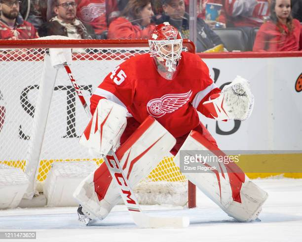 Jonathan Bernier of the Detroit Red Wings follows the play against the Tampa Bay Lightning during an NHL game at Little Caesars Arena on March 8,...