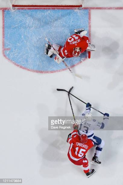 Jonathan Bernier of the Detroit Red Wings makes a leg pad save on Cedric Paquette of the Tampa Bay Lightning with Dmytro Timashov on his back during...