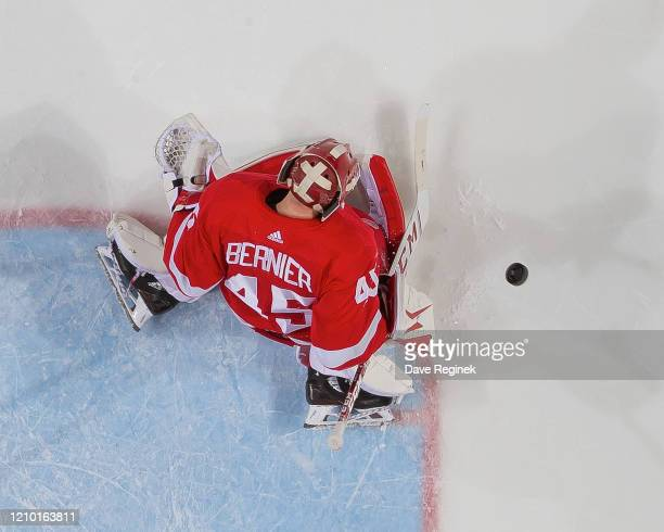 Jonathan Bernier of the Detroit Red Wings makes a leg pad save against the Colorado Avalanche during an NHL game at Little Caesars Arena on March 2,...
