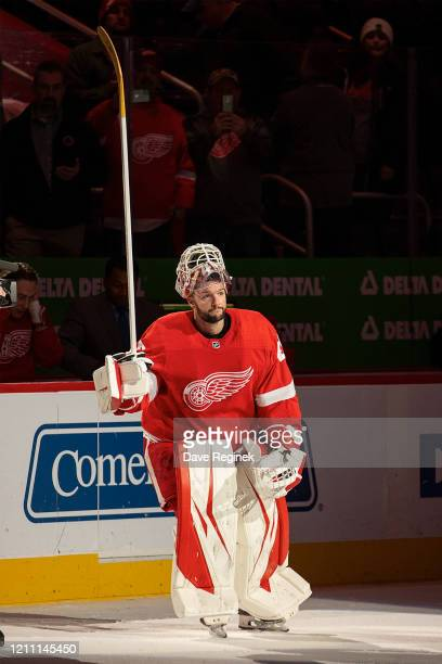 Jonathan Bernier of the Detroit Red Wings skates out and acknowledges the fans as the number one star of the game after an NHL game against the...