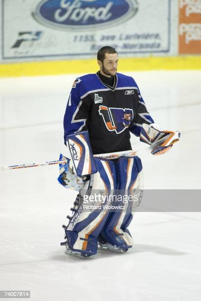 Jonathan Bernier of the Lewiston Maineiacs looks on during pre-game ceremonies prior to game three of the QMJHL Semifinals against the Rouyn-Noranda...