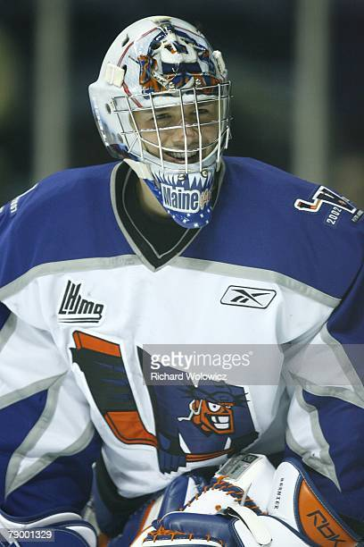 Jonathan Bernier of the Lewiston Maineiacs warms up prior to facing the Quebec City Remparts at Colisee Pepsi on January 11, 2008 in Quebec City,...