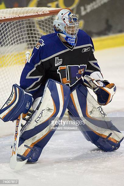 Jonathan Bernier of the Lewiston Maineiacs warms up prior to game three of the QMJHL Semifinals against the Rouyn-Noranda Huskies at the Dave Keon...